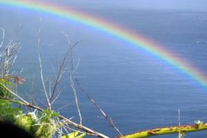 Rainbow below us