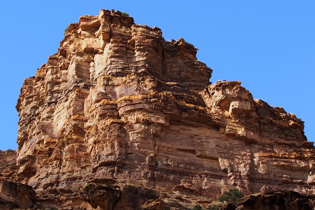 Beautiful pink and orange rock inside the canyon